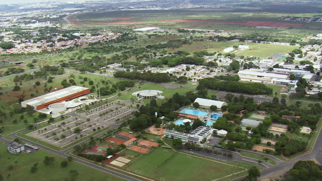 WS AERIAL View of houses and swimming pool / Brasilia, Brazil
