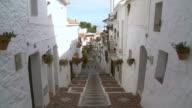 MS View of Houses at mountain village Mijas / Mijas, Andalusia, Spain