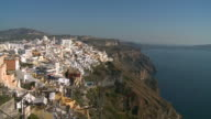 WS View of houses at village Thira with Ocean / Santorini, Cyclades, Greece