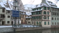 WS  View of houses near river / Strasbourg, Alsace, France
