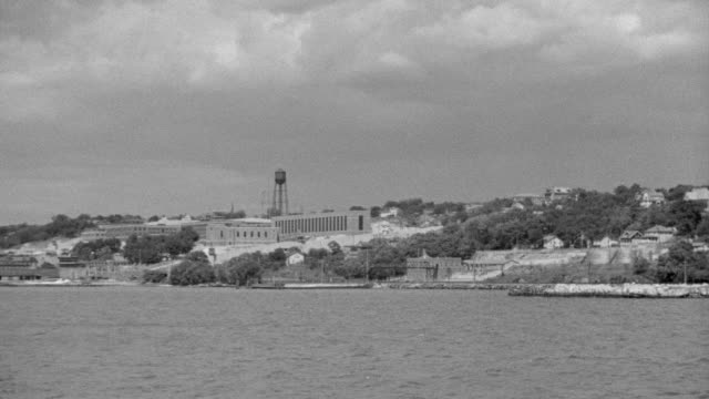 WS View of Hudson River with exterior of Sing Sing prison
