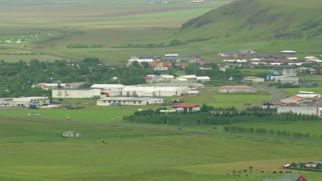 WS AERIAL View of Hvolsvollur / Iceland