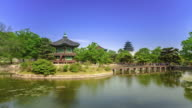 View of Hyangwonjeong pavilion in Gyeongbokgung royal palace in summer