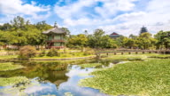 WS T/L View of Hyangwonjeong pavilion in Gyeongbokgung royal palace in spring / Seoul, South Korea