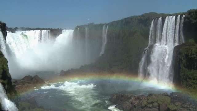WS View of Iguazu waterfall and rainbow / Iguazu, Argentina