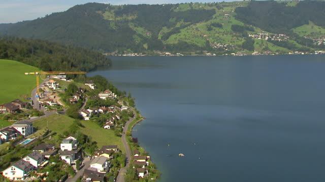 WS AERIAL View of Immensee and lake zug / Immensee, Schwyz, Switzerland