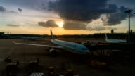 View of Incheon Airport (the largest airport in South Korea) at sunset