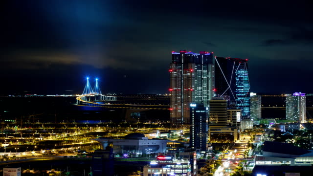 View of Incheon Bridge (The longest bridge in Korea) and Songdo Island (International Business District) at night
