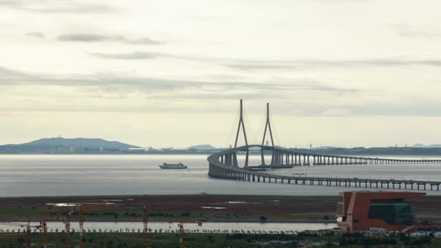 View of Incheon Bridge (The longest bridge in Korea) and Songdo Island (International Business District)