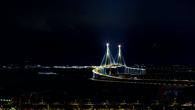 View of Incheon Bridge (The longest bridge in Korea) at night