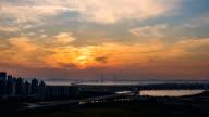 View of Incheon Bridge at sunset