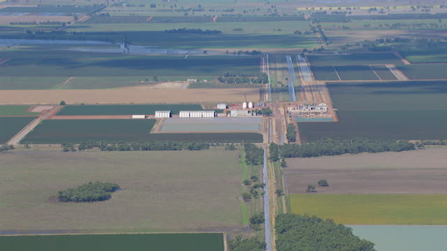 WS AERIAL View of industrial area / Griffith, New South Wales, Australia