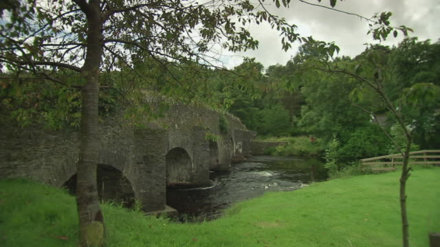 WS View of Irish stream and stone bridge / Rathdum, Ireland