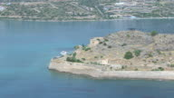 WS AERIAL View of island of Spinalonga with fortress / Spinalonga, Crete, Greece