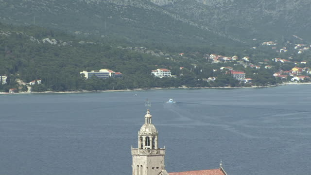 WS ZO View of island town of Korcula birthplace of Marco Polo / Korcula, Croatia