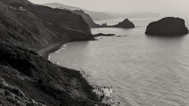 WS T/L PAN View of islands of Cantabria sea / Gaztelugatxe, Bizkaia, Basque Country, Spain