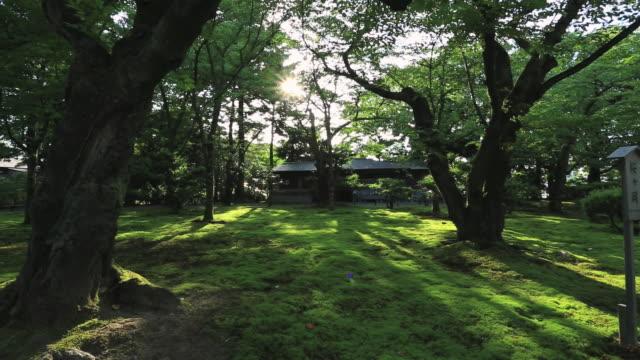 MS PAN View of Japanese garden Kenrokuen / Kanazawa, Ishikawa, Japan