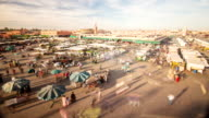 WS PAN T/L View of jemaa el fna square market / Marakech, Morocco