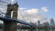 WS T/L View of John A.Roebling Suspension Bridge on river with Cincinnati skyline in background / Cincinnati, Ohio, United States