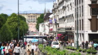 WS View of Karl Johans gate and Royal Palace with traffic / Oslo, Norway