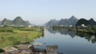 WS View of Karst Mountains and river / Close to Li River, Guangxi, China