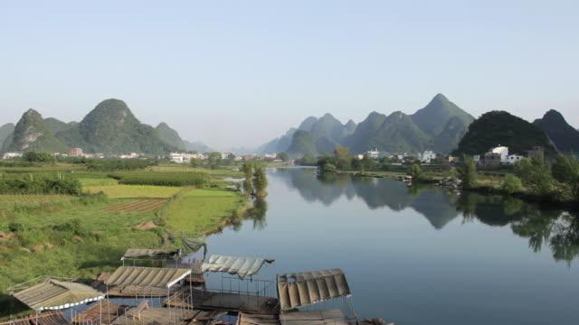 WS View of Karst Mountains and river / Close to Li River, Guangxi, China