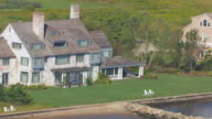 WS ZO AERIAL POV View of Katharine Hepburn House/ Old Saybrook, Connecticut, United States