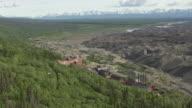 WS AERIAL DS View of Kennecott Mine overlooking vast morraine / Alaska, United States