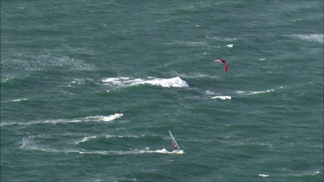 WS ZI TS AERIAL View of kite surfer in Mediterranean sea / Tel Aviv, Israel