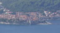 View of Korcula and Adriatic Sea from Panorama Cafe and church, Dalmatia, Croatia, Europe