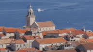 View of Korcula Old Town and Adriatic Sea, Korcula, Dalmatia, Croatia, Europe