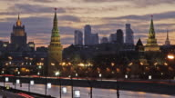 WS T/L View of Kremlin, city complex and buildings at night / Moscow, Russia