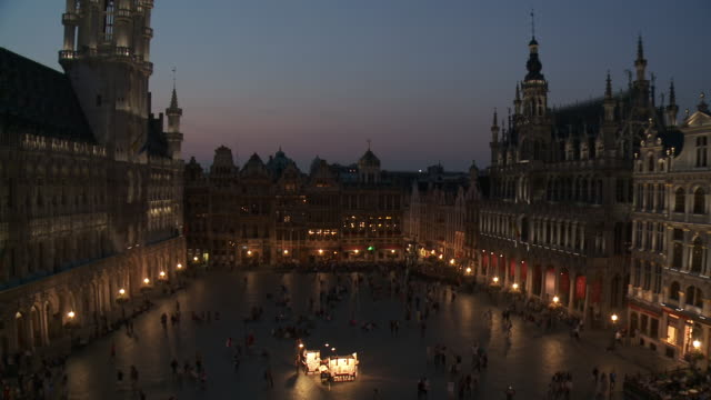 WS View of La Grand Place at dusk UNESCO world heritage / Brussels, Brussels Capital Region, Belgium