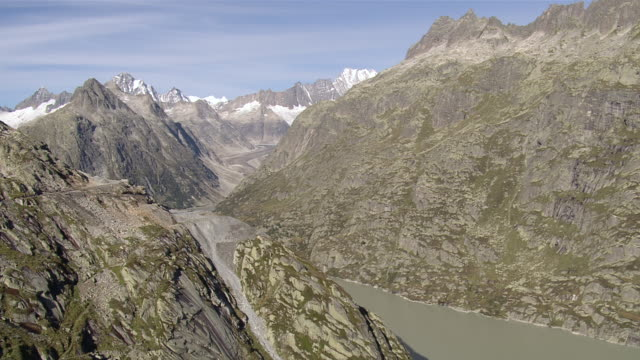 WS AERIAL View of Lake Grimsel and Raterichsboden reservoirs / Lake Grimsel, Bern, Switzerland