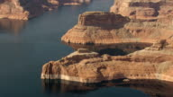 WS AERIAL View of Lake Powell and cliff / Arizona, United States