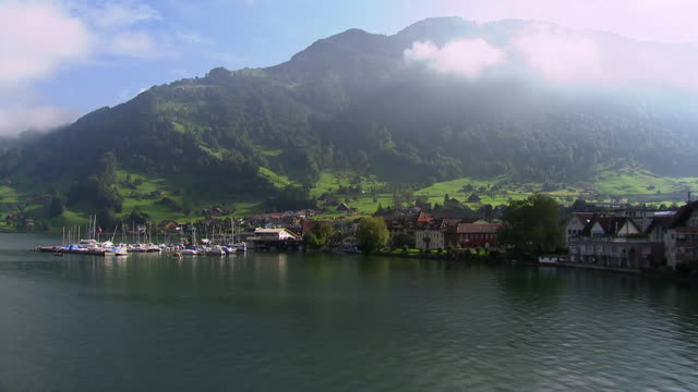 WS AERIAL View of lakeside at Lake Zug / Arth, Schwyz, Switzerland