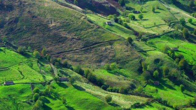 View of landscape in Alto Miera, Miera Valley, Valles Pasiegos, Cantabria, Spain, Europe