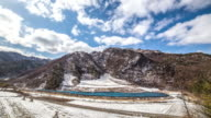 WS T/L View of Landscape of mountain and cloud at Jeongseon / Jeongseon, Gangwon do, South Korea