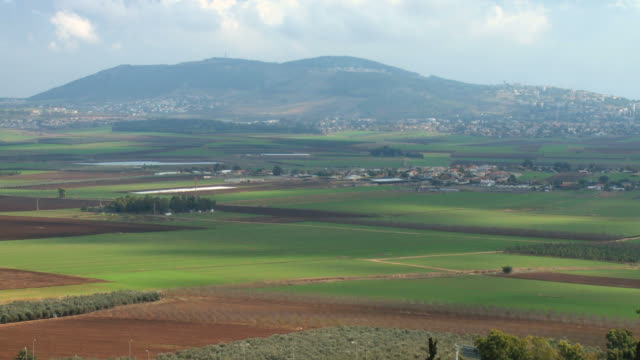WS T/L View of landscape with mountain in background / Jezreel Valley,  Isarel