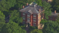 WS AERIAL POV View of large house in old town / Alexandria, Virginia, United States