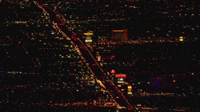 WS AERIAL View of Las Vegas in night / Nevada, United States