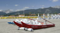 WS View of Lifeboat on Beach, Apuan Alps / Forte dei Marmi, Tuscany, Italy