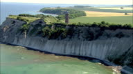 WS TS AERIAL View of light house / Hiddensee, Mecklenburg-Vorpommern, Germany