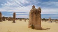 WS PAN View of limestone formations of pinnacles / Cervantes, Western Australia, Australia