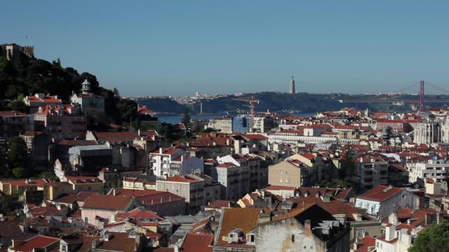 WS HA PAN View of Lisbon with Castle of Sao Jorge and 25 de Abril Bridge / Lisbon, Portugal
