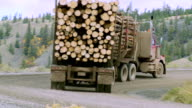 WS PAN View of logging truck moving through grasslands / Williams Lake, British Columbia, Canada