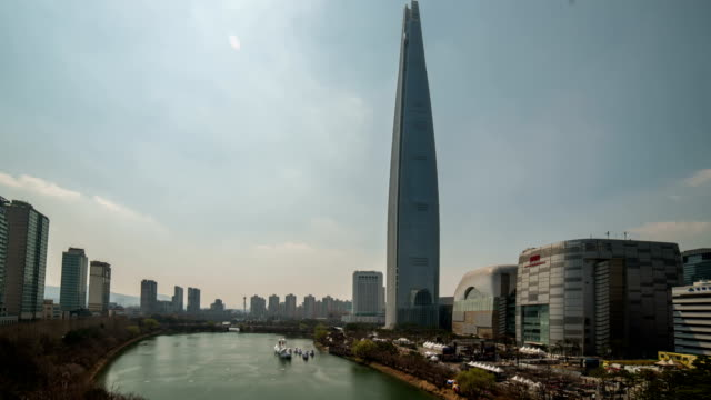 View of Lotte World Tower (The tallest building in Korea) and Seokchonhosu lake