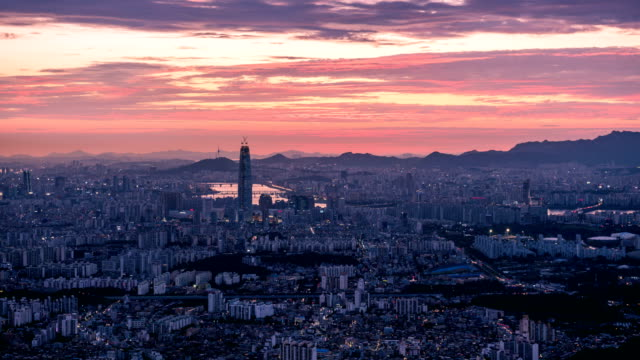 View of Lotte World Tower (One of the tallest buildings in Korea) area at sunset