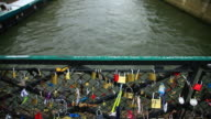 View of Love padlocks on a Paris bridge, Paris, France