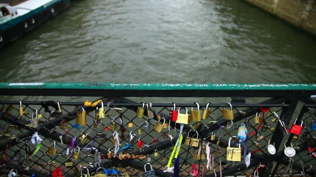 View of Love padlocks on a Paris bridge, Paris, France